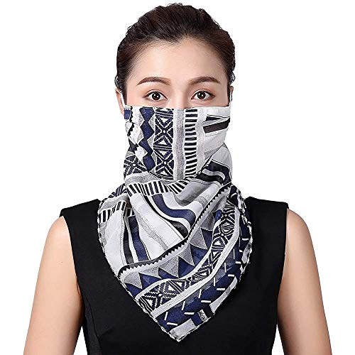 SolForis Fashion Face Scarf Mask Printed Scarf Cool Lightweight Summer Protection Scarf Bandana UV Protective for Outdoor (L)