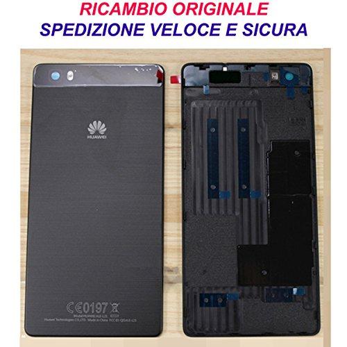 HUAWEI Scocca Copribatteria Back Cover Copri Batteria Posteriore Originale P8 Lite Nero Nera con Adesivo Biadesivo ALE-L21