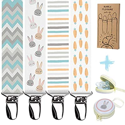 Pacifier Clips + Pacifier Case - 4 Pack Premium Quality Pacifier Holder for Boys and Girls Fits All Pacifiers & Baby Teething Toys, Newborn Baby Shower Gift Set