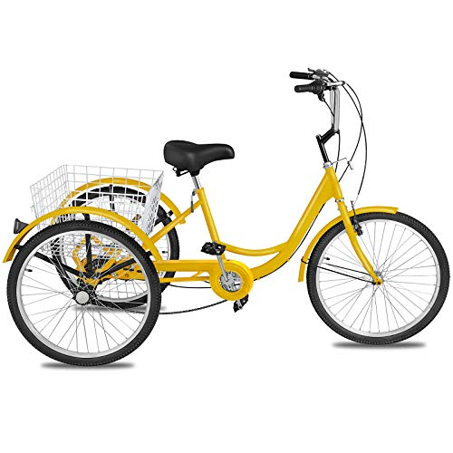 Happybuy Adult Tricycle 1 Speed 7 Speed Size Cruise Bike 20 Inch Adjustable Trike with Bell, Brake System Cruiser Bicycles Large Size Basket for Recreation Shopping Exercise (Yellow/7 Speed)