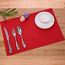 LiveZone Simple Style PVC Placemat Heat Insulation Table Mat Protector Anti-skidding,Set of 6 (Red)