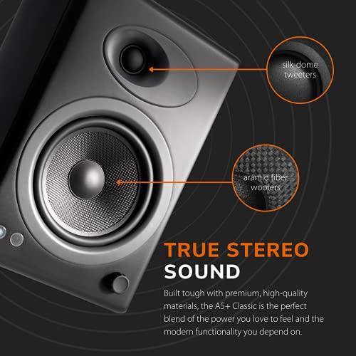 Audioengine A5+ Classic 150W Altavoces de estantería | Amplificador Analógico Incorporado | Control Remoto | Entradas RCA y 3.5mm. | Cables Incluidos (Classic, Negro)