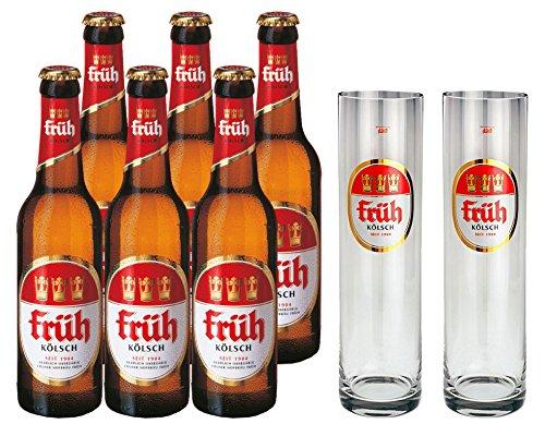 Früh Kölsch Set - 6x Früh Kölsch Bier 0,33L (4,8% Vol) + 2x Biergläser/Stangen 0,2L -[Enthält Sulfite] - Inkl. Pfand MEHRWEG