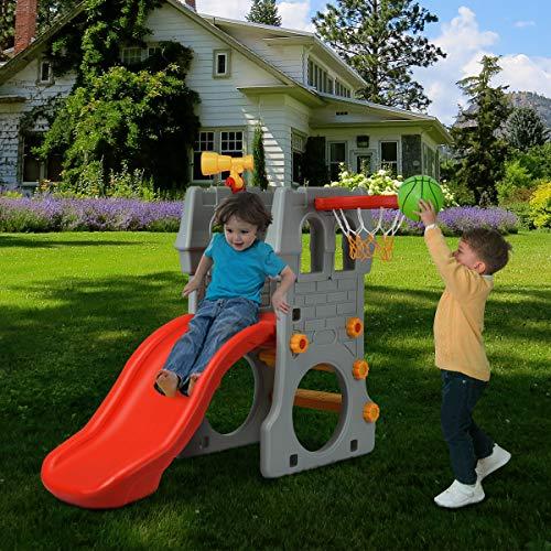 COSTWAY 4 in 1 Kinder Spielplatz mit Teleskopspielzeug, Kletterleiter & Rutsche & Basketballkorb & Fußballtor, Schloss Rutsche, Spielrutsche, Kinderrutsche für 3-8 Jahre - 5