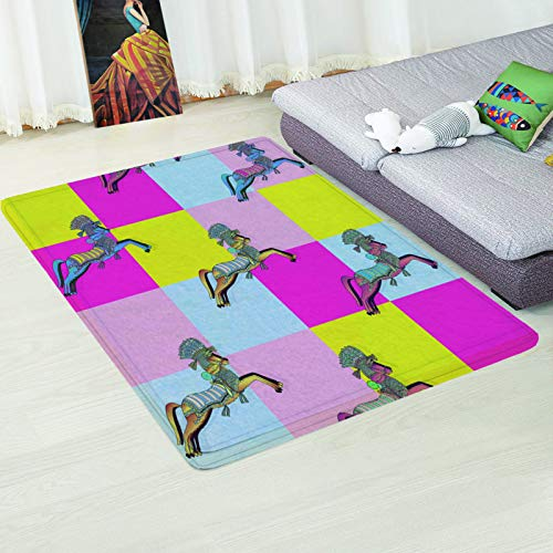 MMHJS European Style Simple Non-Slip Absorbent Coffee Table Sofa Mat Geometric Colorful Rectangular Carpet Bedroom Hotel Homestay Living Room Carpet