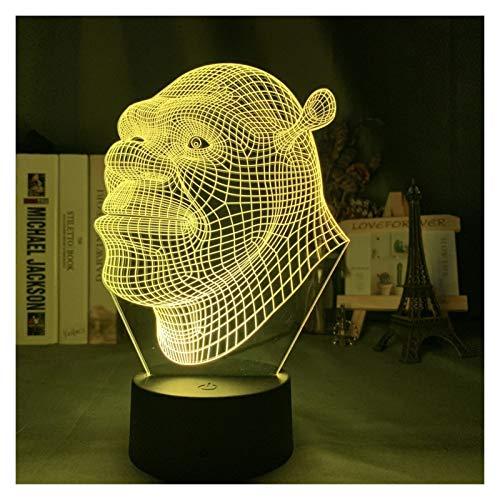Llevó la luz de la noche Shrek Cabeza holograma 3D de la ilusión de la lámpara for Desarrollado Niños Niño decoración del dormitorio de luz nocturna USB de la batería Lámpara de mesa de regalos