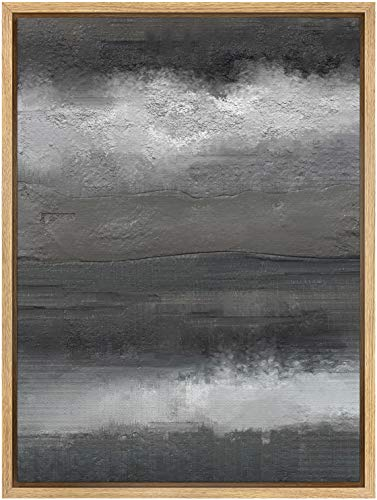 SIGNWIN Framed Canvas Wall Art Stormy Black and White Print Abstract Brushstroke Canvas Prints Home Artwork Decoration for Living Room,Bedroom - 24x36 inches