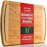 Bamboo Cutting Board - Extra Large Wooden 18 x 12.5 Inch Wood Cutting Boards for Kitchen with Juice Drip Groove - Best Organic Bamboo Chopping Board for Eco-Friendly Cooking