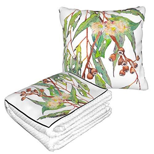 Manta de almohada de terciopelo suave 2 en 1 con bolsa suave para acuarela, rama del árbol de eucalipto con flores blancas y gomitas funda de almohada para casa, avión, coche, viajes, películas