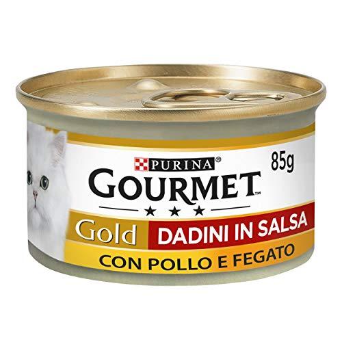 Purina Gourmet Gold Umido Gatto Dadini in Salsa con Pollo e Fegato, 24 Lattine da 85 g Ciascuna, Confezione da 24 x 85 g