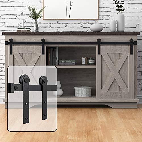 WINSOON 7FT Super Mini Barn Door Hardware Kit for Sliding Double Doors Small TV Stands Wardrobe Cabinets, I Shape Hanger (7FT Double Doors Kit)