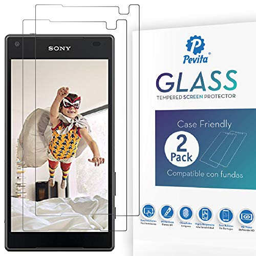 Pevita Protector de Pantalla para Sony Xperia Z5 Mini [2 Packs]. Case Friendly. Dureza 9H, Sin Burbujas, Fácil Instalación. Cristal Templado Premium para Sony Xperia Z5 Mini
