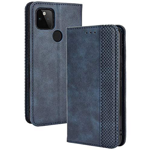 TANYO Leder Folio Hülle für Google Pixel 4A 5G (Not for 4G Version), Premium Flip Wallet Tasche mit Kartensteckplätzen, PU/TPU Lederhülle Handyhülle Schutzhülle - Blau