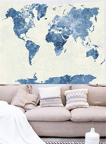 Abillyn Tapestry - Póster de mapa del mundo de acuarela azul abstracto para colgar en la pared (mapa del mundo, pequeño)