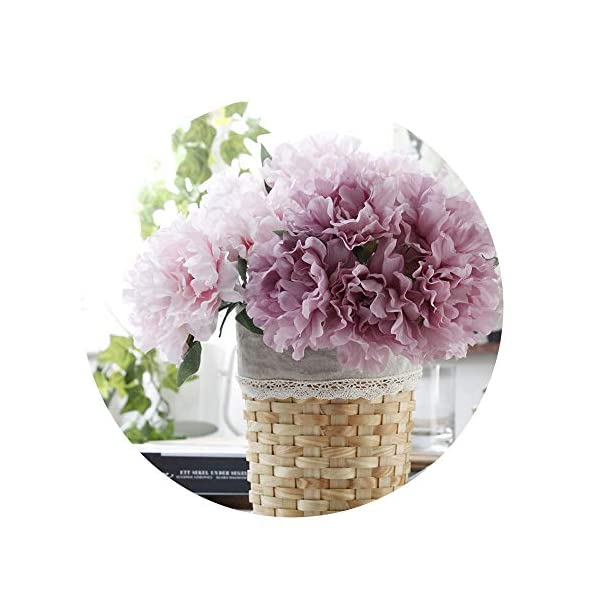 Sevem-D Artificial Flowers Peony Bridal Bouquet Decoration 5 Heads Peonies Fake Flowers Silk Hydrangeas,Purple Peony A Bunch