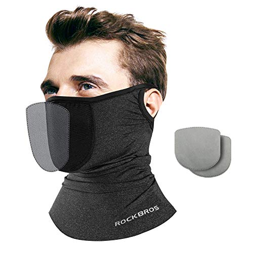 Cooling Neck Gaiter Face Mask for Women Men Reusable Face Cover with Filter Ear Loops Washable Face Scarf Summer for Cycling Fishing Outdoor Sports, Grey