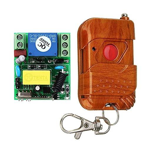 YJDSZD Componentes electrónicos 433MHz AC 220V 1CH 10A Relé Interruptor de Control Remoto inalámbrico Interruptor de luz Remoto Sistema Receptor Transmisor Control Remoto