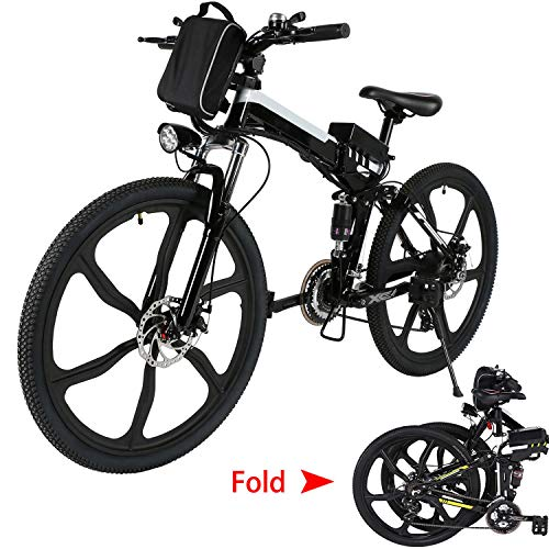 Aceshin 26'' Folding Electric Mountain Bike with Removable Large Capacity Lithium-Ion Battery (36V 250W), Electric Bicycle 21 Speed Gear and Three Working Modes (Black/White)