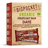 Biopocket - Barritas ecológicas de fruta y frutos secos, sabor dátil (18 unidades de 35 g)