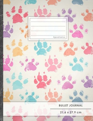 """Bullet Journal • A4-Format, 100+ Seiten, Soft Cover, Register, """"Hundepfoten"""" • Original #GoodMemos Dot Grid Notebook • Perfekt als Tagebuch, Zeichenbuch, Kalligraphie Buch"""