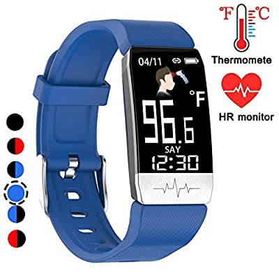 YZJ Fitness Tracker?Body Temperature Watch with Heart Rate Blood Oxygen Blood Pressure Monitor,Pedometer Smart Watch with Sleep Monitor, Step Counter for Kids Women Men (I-Blue)