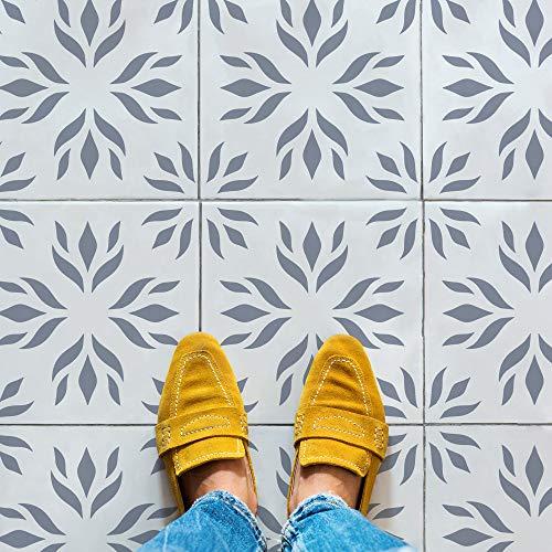 STENCILIT Flora Tile Stencil for Painting Floors - Repositionable Tile Stencil - Large Floor Stencils for Painting Concrete - Tile Stencils for Painting Floors (12' x 12')