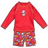 Landora®: Baby- / Kleinkinder-Badebekleidung langärmliges 2er Set in rot; Größe 86/92
