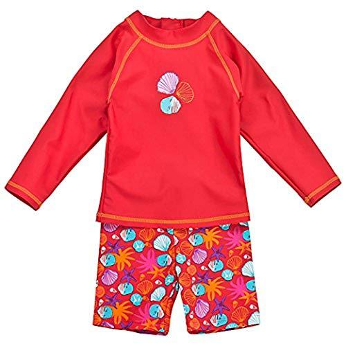 Landora®: Baby- / Kleinkinder-Badebekleidung langärmliges 2er Set in rot; Größe 74/80