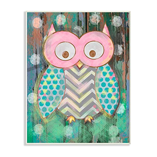 The Kids Room by Stupell Canvas Wall Art, 10x15, Multi Color Distressed Woodland Owl