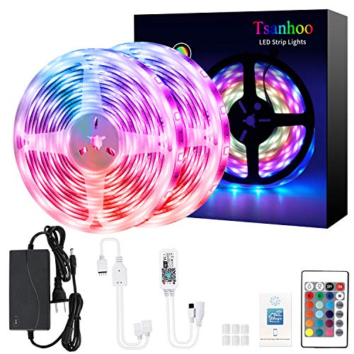 Tsanhoo WiFi LED Strip Lights 32.8ft,Waterproof RGB LED Light Strip,Color Changing LED Strip Lights with Remote,Music Sync Light Strips for Bedroom Flexible Strips Light for Home Kitchen Decoration