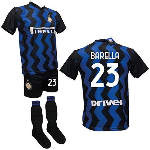 DND DI D'ANDOLFO CIRO Completo Calcio Maglia Barella Inter, Pantaloncino con Numero 23 Stampato e Calzettoni Replica Autorizzata 2020-2021 Taglie da Bambino e Adulto (6 Anni)