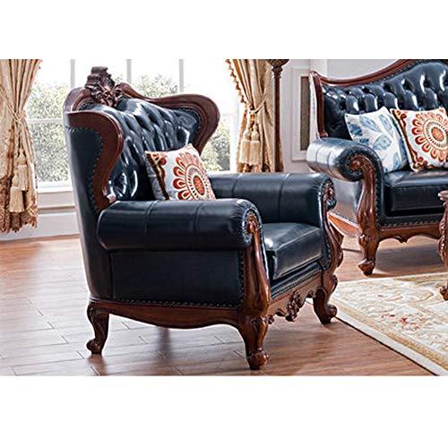 Leichte Luxus Ledersofa Massivholz Sofa MöBel Wohnzimmer Sofa Einzel Doppel Dreifach Kombination, Die Luxus Hervorhebt,Blau,Single seat