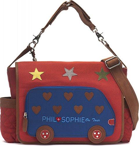 PHIL+SOPHIE, Cntmp, Damen Wickeltasche, Handtasche, Diaper Bag, Babytaschen, Buggy-Tasche, 44 x 30,5 x 9 cm (B x H x T), Farbe:Rot