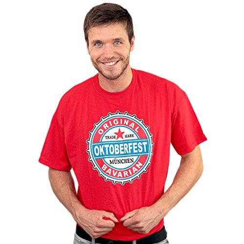 T-Shirt Oktoberfest Trademark, rot, Herren T-Shirt mit Wiesnmotiv aus 100% Baumwolle Größe S