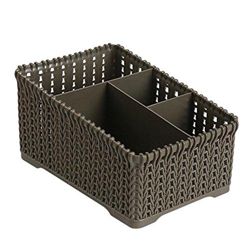 Wicemoon 4 Grid Sub-Grid Boîte de Rangement en Plastique Desktop Classification Organiseur Support étui de Rangement récipient de Panier pour télécommande Cosmétique Support, Plastique(Noir)