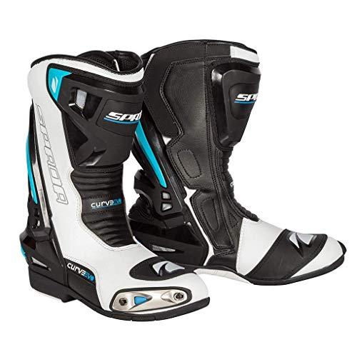 MOTORRADSTIEFEL SPADA Curve EVO Motorrrad RENNSTIEFEL Racing Sports Wasserdicht Touren Allround Stiefel (Wei? Blau,EU 41)