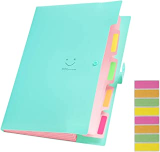 Sooez Expanding File Folders with 5 Pockets, Plastic A4 Letter Size Accordion Document Organizer and 8Pcs File Folder Labels for School Office Home
