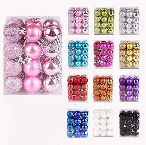 IsEasy Palline Natalizie da 24 Pezzi Set di, Palline Natalizie da 3 cm, Glitter Opaco Lucido [x8 x8...