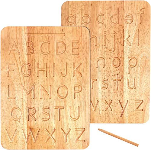 Montessori & Me Wood Alphabet Tracing Board from Montessori Letters - Wooden Letters - Large Print Letters for Toddler to Preschool - Reversible Uppercase and Lowercase