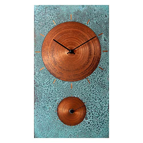 19-inch Turquoise Copper Wall Clock - Rustic Farmhouse Art Decor 7th Anniversary Gift - for Home Kitchen Living Room
