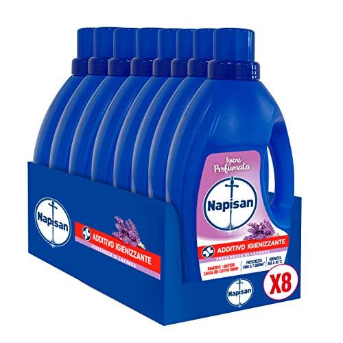 Napisan Additivo Igienizzante Lavatrice, Additivo Igienizzante Liquido Per Bucato, Freschezza Di Lavanda, 9.6 Litri, 8 Confezioni Da 1.2 Litri