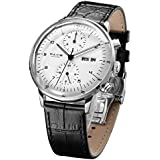 FEICE Men's Mechanical Watch Bauhaus Automatic Watch Stainless Steel Self-Winding Wrist Watches Casual Dress Watches for Men with Leather Bands Date Calendar -FM121 (White-1)