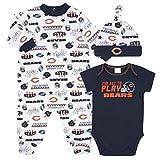 NFL Chicago Bears 3 Pack Bodysuit Sleep n Play Footie Cap Registry Gift Set, blue/white/orange Chicago Bears, 3-6M