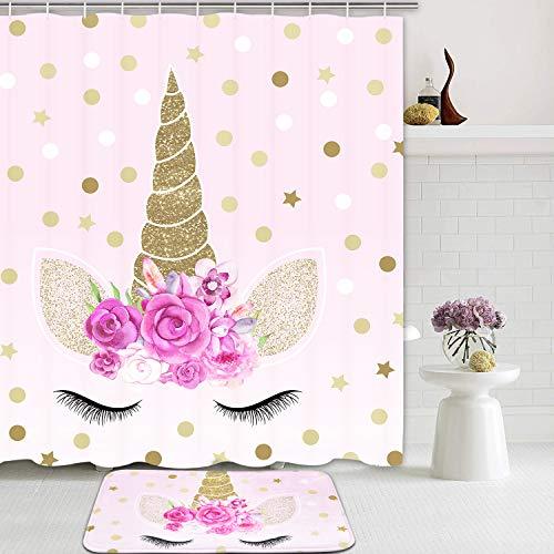 Romeooera Einhorn-Duschvorhang-Sets mit rutschfesten Teppichen, Pink, wasserdicht, mit 12 Haken für Mädchen & Kinder, 2 Stück