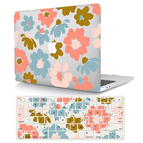 ACJYX MacBook 12 Inch Case Bundle (Model A1534, Release 2017 2016 2015), Hard Shell Case Protective Cover & Keyboard Cover for MacBook 12 Inch with Retina Display - Pink & Blue Flowers