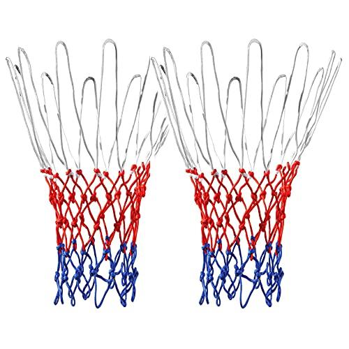 Red de Baloncesto,Red para Canasta de Baloncesto, 2 pcs Redes para Aros de Baloncesto Red de Repuesto con 12 Lazos para Canastas de Baloncesto