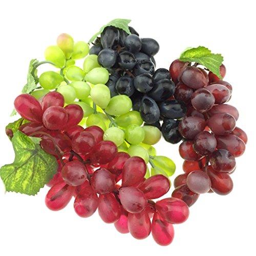 Gresorth 4 Stück Künstliche Lebensechte Traube Deko Gefälschte Früchte Obst Party Festival Dekoration