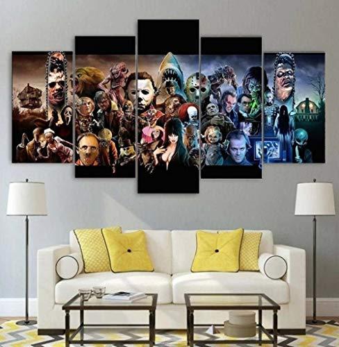 104Tdfc 5 Teile Bild Auf Leinwand Leinwandbilder Sammlung von Horrorfilmen Wandkunst Tapete Dekorative Wandbild Für Wohnzimmer Home Décor