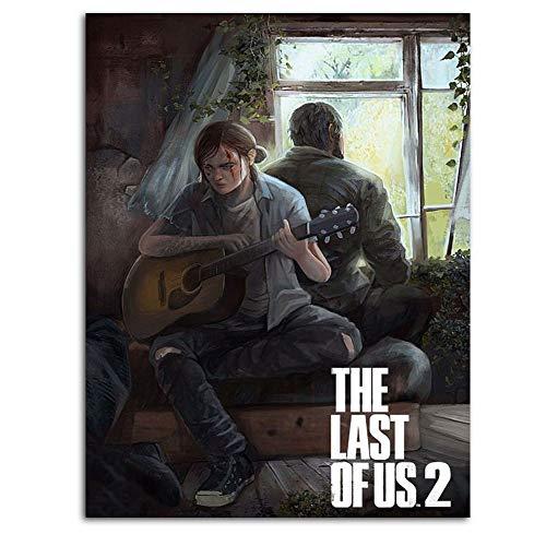 Ghychk The Last of Us Part II - Cuadro decorativo para pared (30,48 x 45,72 cm), diseño de juegos de aventura de Ellie y Joel, listo para colgar)