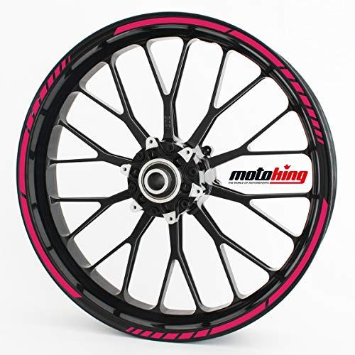 Motoking Adhesivos para Borde de llanta Rosa - Juego Completo de 15' a 19' / Color Opcionales